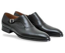 Handmade Men's Black Monk Strap Dress/Formal Leather Shoes image 1
