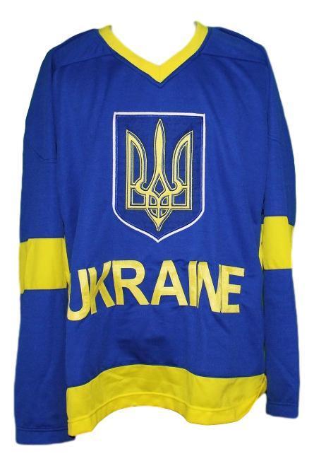 Custom name   ukraine national hockey jersey blue   1
