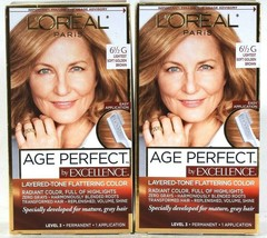 2 L'Oreal Age Perfect Excellence 6 1/2G Lightest Soft Golden Brown Permanent Dye - $29.99