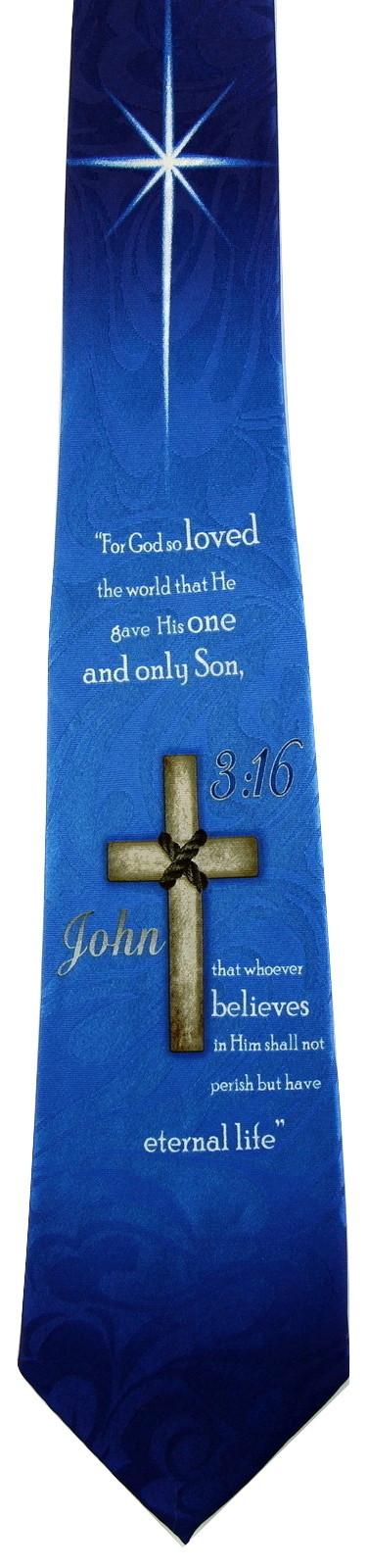 John 3:16 Mens Neck Tie Religious Scripture Christian Jesus Christ Blue Necktie