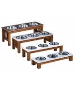 TRIPLE DISH DOG FEEDER - LUXURY WOOD & CORIAN TOP - Handmade Elevated Oa... - $183.12+