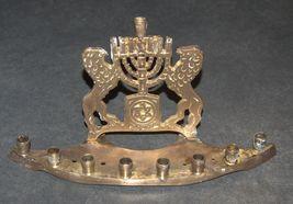 Judaica Candle Menorah Hanukkah Vintage Israel Lions Magen David 1960's Signed image 2