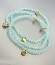CHIC Urban Anthropologie 3 Light Blue Czech Crystals Gold Disks Stretch ... - $16.99