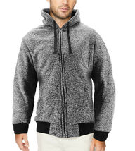 Men's Salt and Pepper Soft Sweater Sherpa Lined Heathered Zip Up Hoodie Jacket image 8