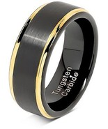 100S JEWELRY Tungsten Rings For Men Two Tone Black Gold Wedding Band Center (8) - $110.61