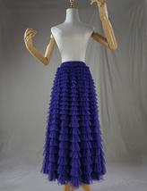 Purple Tiered Tulle Skirt Polka Dot Layered Long Tulle Skirt US0-US24 image 2