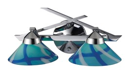 Elk 1471/2CAR 2-Light Wall Bracket In Polished Chrome and Caribbean Glass - $211.69