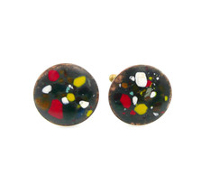 Vintage 1950s Handmade Copper Enamel Abstract Modernist Design CUFFLINKS - $45.00