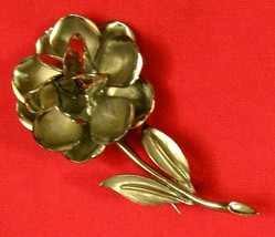 Floral Pin Brooch - 2 3/4 Inch Silver Tone Vtg Not Signed - $9.89