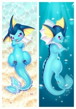 Hot Anime Vaporeon Dakimakura Pillow Case 100cm x 34cm Hugging Body Pill... - $59.99