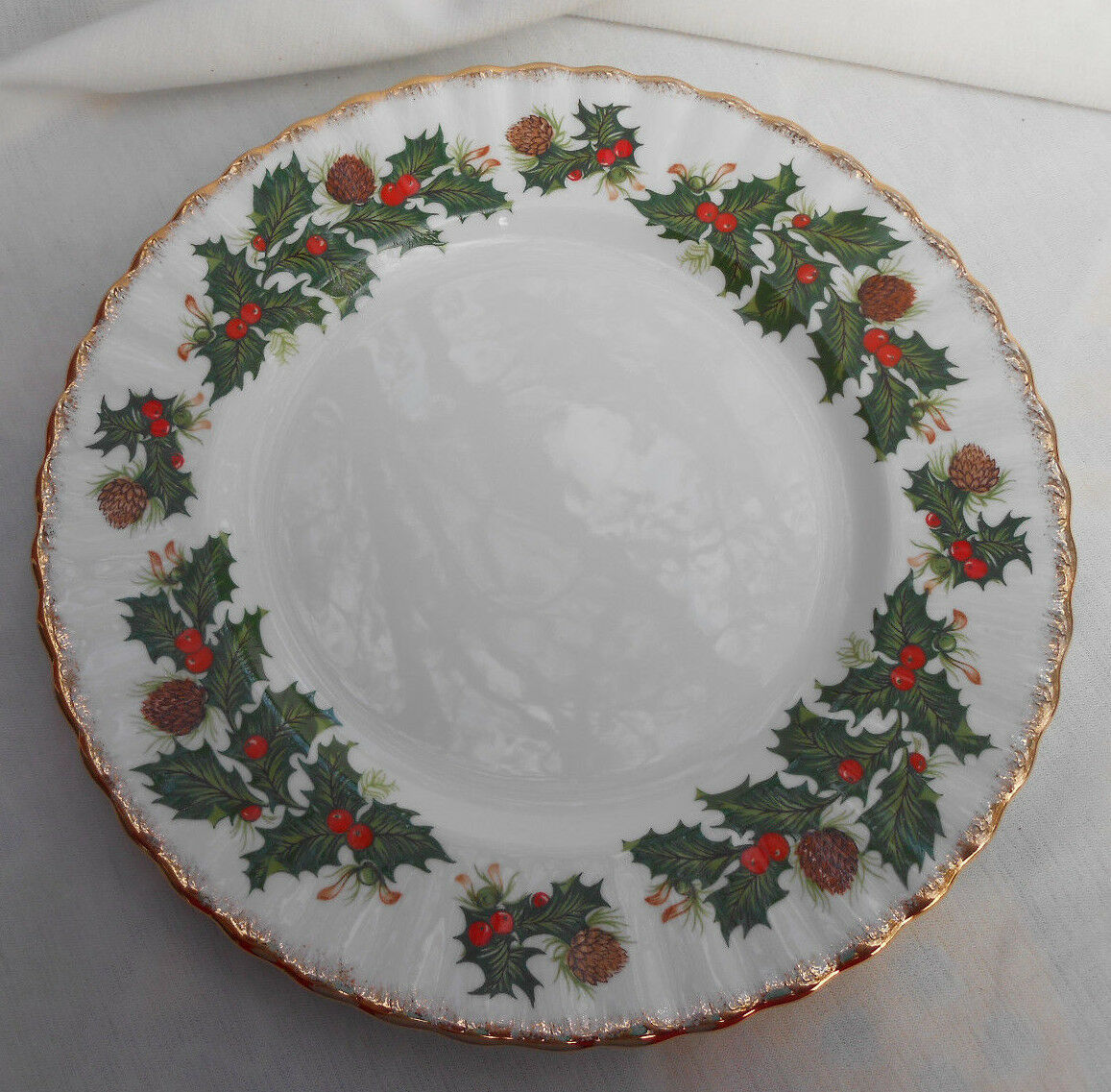 "Primary image for ROSINA QUEENS YULETIDE SWIRL SALAD PLATES 2 8 1/4"" SCALLOPED HOLIDAY PINECONE"