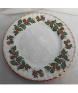 "ROSINA QUEENS YULETIDE SWIRL SALAD PLATES 2 8 1/4"" SCALLOPED HOLIDAY PIN... - $42.07"