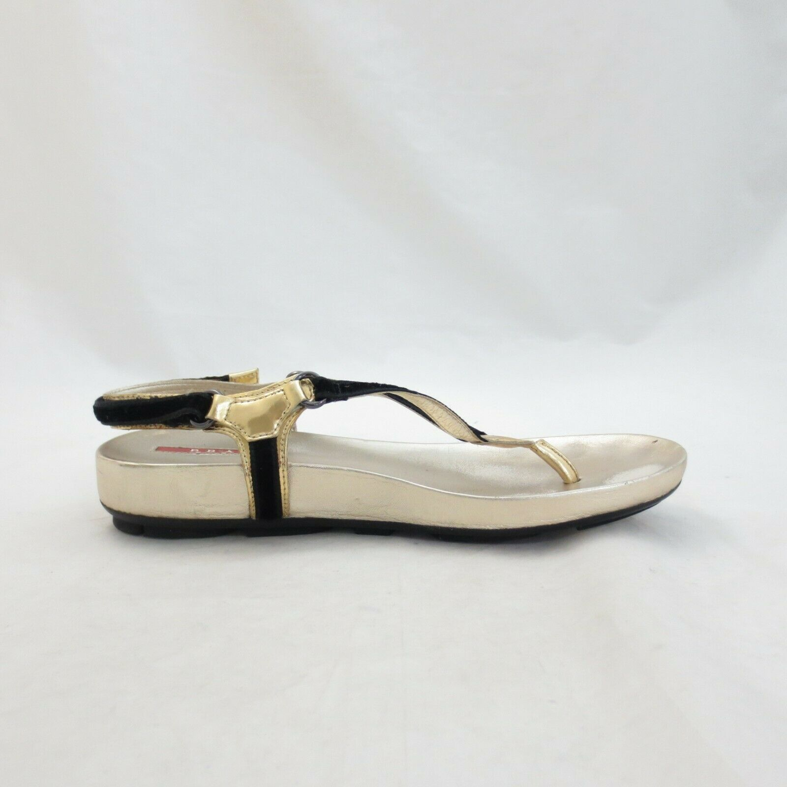 Primary image for 38 / 8 - Prada Black Velvet & Metallic Gold Leather Thong Sandals 1107TZ