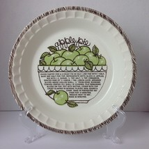 Vintage Apple Pie Recipe Pie Dish Plate Made in USA 11 inches 1.5 inches... - $23.01