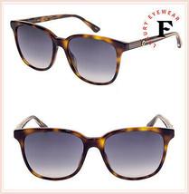 GUCCI WEB 0376 Gold Havana Square Gradient Sunglasses GG0376S Unisex Authentic - $244.53