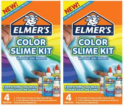 Lot of 2 Elmer's Color Slime Kit Multi-Colored 4 Piece Kit Blue Green Kids Gift