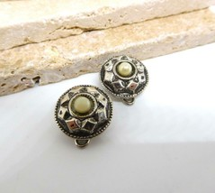 Vintage Patented Silver Tone White Bead Clip On Earrings Or Button Cover... - $15.83