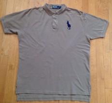 Polo Ralph Lauren Men's Tan Short Sleeve Collard Polo Shirt Size Large Big Horse - $21.77
