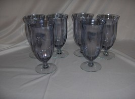 6 Vintage Ice Blue Optic Crystal Iced Tea Water Goblets Glasses - $153.45