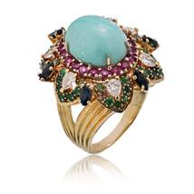 Grande Vintage Turchese Anello Diamante 18K Oro Giallo Misura 10 - $8,631.05