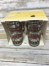 Libbey Poinsettia Holiday Table Barware Glasses CIB Set of 4 Tumblers - $12.19