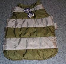 Brand New Dog Gray Green Nylon Puffer Jacket MEDIUM For Dog Rescue Charity - $6.99