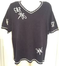 BEAUTIFUL CHRISTOPHER & BANKS NWT's BLUE Hand Embroidered SIZE LARGE - $13.49