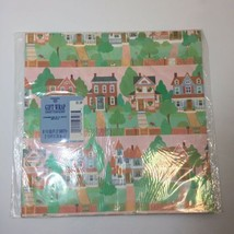 Houses Vintage Hallmark Ambassador Wrapping Paper 2 Sheets Pink Green Brown - $9.74