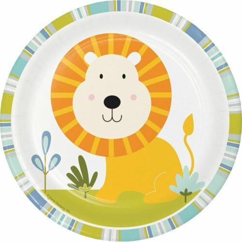 "Happi Jungle 8 Ct 7"" Dessert Plates Lion 1st Birthday Baby Shower"