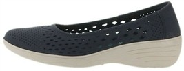 Skechers Kiss Laser-Cut Skimmer Wedges Navy 9M NEW A349642 - $62.35