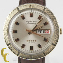 Longines Admiral 10k Gold Filled Automatic Day/Date Watch w/ Leather Band #508 - $998.19
