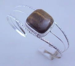 Tiger's Eye Silver Overlay Handmade Open Cuff Bangle/Bracelet 23 Gr. f-515-8 - $9.89