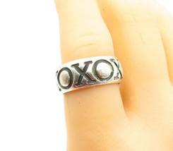 CAROLEE 925 Silver - Vintage XO Pattern Hugs & Kisses Band Ring Sz 8 - R... - $32.78