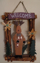 Wooden Welcome Sign Moose Deer Brown Wood Cabin Decor Christmas 11x16x2.... - $19.80