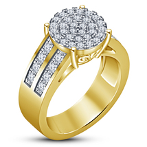 Round Cut Diamond Engagement Women's Ring 18k Gold Plated 925 Sterling S... - $95.52 CAD