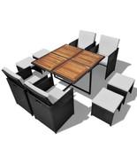 vidaXL Acacia Wood Outdoor Dining Set Poly Rattan Black Table Chair Seating - $413.99