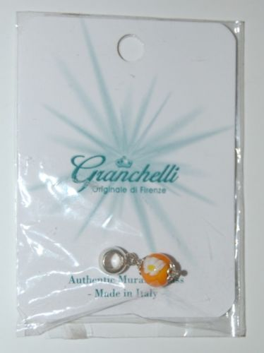 Granchelli Originale Di Firenze Authentic Murano Glass Orange White Flower Charm