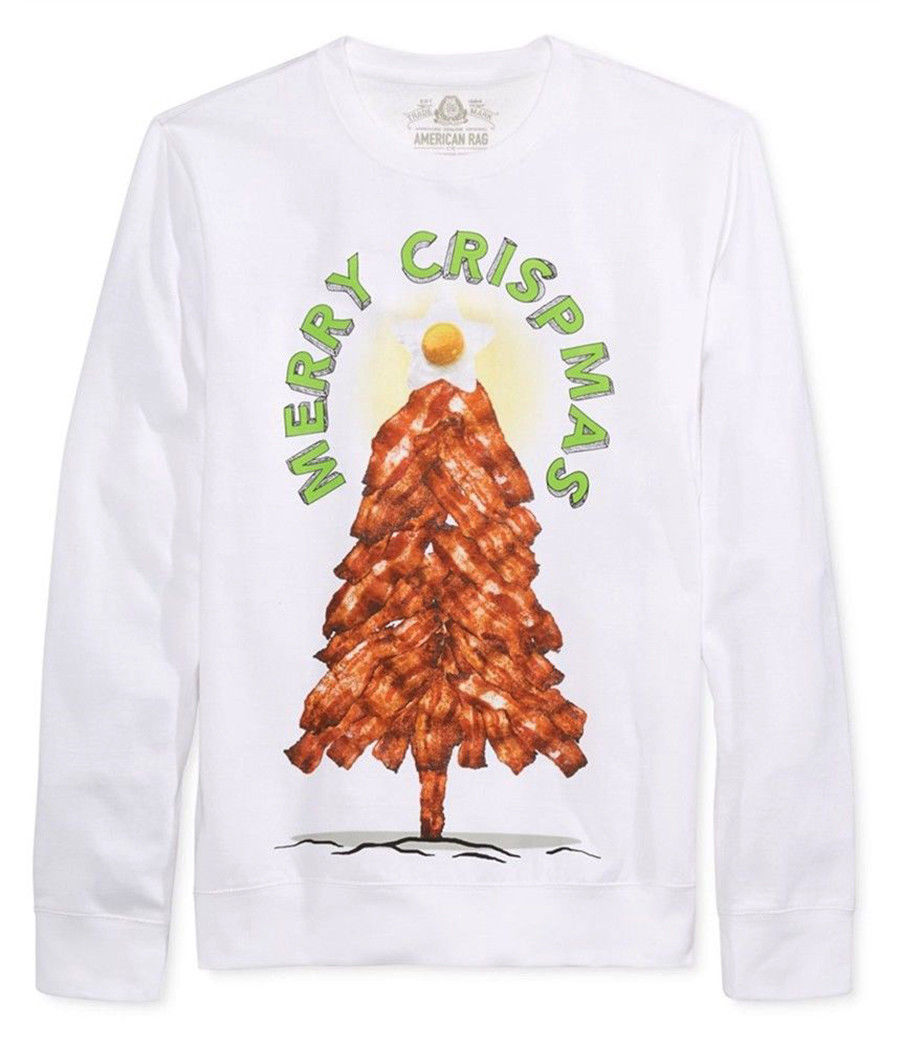 "NEW MENS AMERICAN RAG ""MERRY CRISPMAS"" GRAPHIC WHITE SWEATSHIRT L"