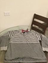 Vintage Tommy Hilfiger Gray Blue Stripe Long Sleeve Rugby Polo Shirt Medium - $29.44