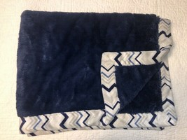 Just Born Navy Blue & White Baby Blanket w/ Chervron Stripe on Border Pl... - $24.74