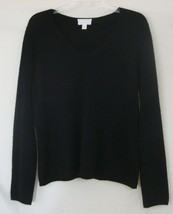 Charter Club 100% Cashmere Sweater 2-Ply Black V-Neck Long Sleeve Pullov... - $55.81 CAD