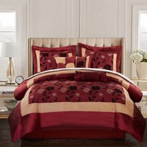 King Size Comforter Set 7 Pc Red Bedding Pillow Sham Bedskirt Decorative... - $77.21