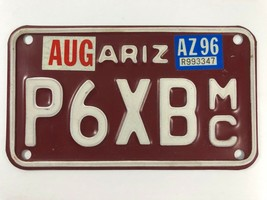 Vintage Arizona Motorcycle Red White License Plate - $19.79