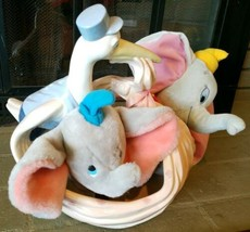 2 Disney Dumbo Plush And Large Ceramic Baby Delivery Stork Scene Animate... - $339.45