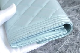 100% AUTH CHANEL PEARLESCENT BLUE QUILTED LEATHER BOY TRI-FOLD WALLET CLUTCH  image 6