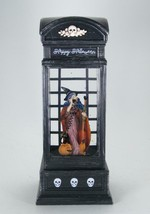 Lighted Witch in Phone Booth Spinning Water Globe 6 hr Timer Halloween Decor - $35.59