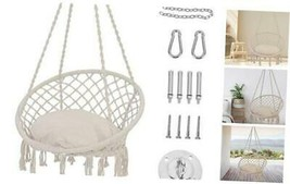 Patio Watcher Hammock Chair Macrame Swing with Cushion and Hanging Hardw... - $87.47