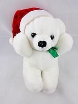 "Dakin White Bear Plush Christmas Jingle Bell 8"" 1988 Stuffed Animal toy - $16.16"