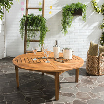 Solid Wood Round Coffee Cocktail Table Slatted Top Natural Brown Indoor ... - $273.46