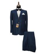Men Blue Two Piece Suits Designer Elegant Dinner Party Wear Wedding Suits - $209.99
